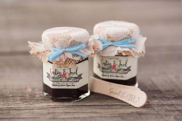Rustic Burlap and Lace Jam Favors